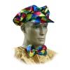 Harlequin ladies cap and bow tie