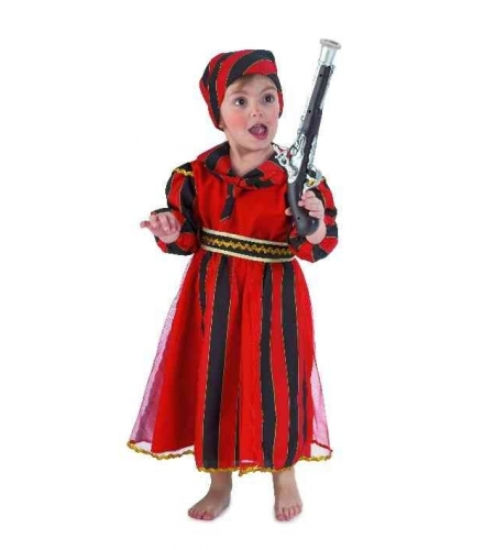 Pirate red stripes girl costume