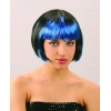 Wig with blue fringe