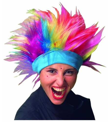 Rainbow punk wig with headband