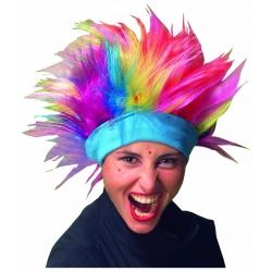 Rainbow punk wig with headband