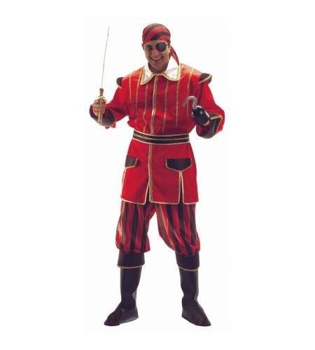 Pirate red stripes man costume